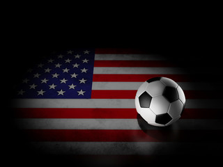 Soccer ball with american flag