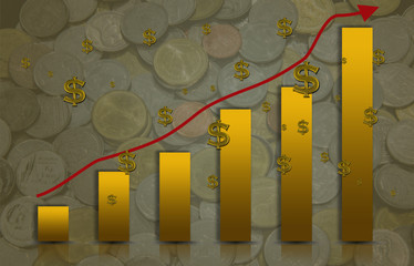 Yellow bar-Graph up and arrow with Coin is a background