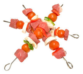 Raw Beef And Vegetable Kebabs