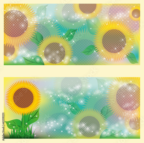 Sunflowers floral banners. vector illustration