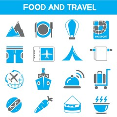food and travel icons, blue color icons