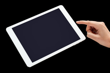 Close up of hand touching tablet pc