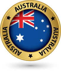 Australia gold label with flag, vector illustration