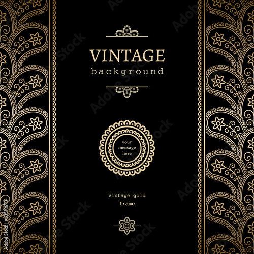 Vintage gold vertical frame on black