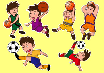 cartoon basketball and soccer player