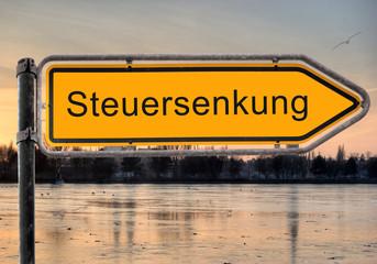 Strassenschild 9 - Steuersenkung
