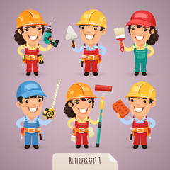 Builders Cartoon Characters Set1.1 With Clipping Paths