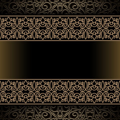 Vintage gold background with ornamental borders