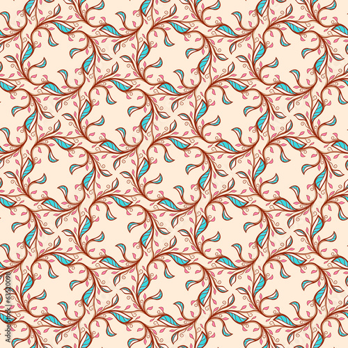 floral pattern with pink and blue leaves