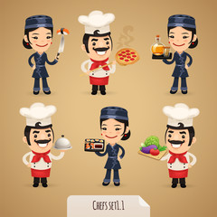 Chefs Cartoon Characters Set1.1 With Clipping Paths