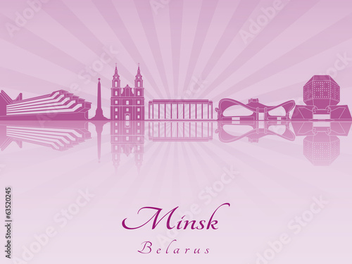 Minsk skyline in purple radiant orchid