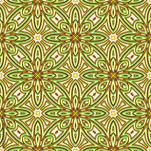 Abstract floral bright green seamless pattern