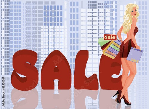 Blonde woman with shopping bags, vector illustration