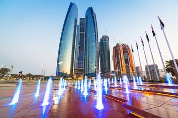 Skyscrapers of Abu Dhabi at sunset, United Arab Emirates