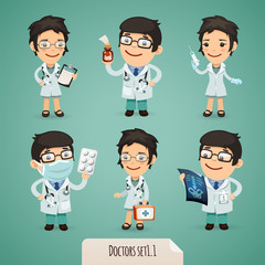Doctors Cartoon Characters Set1.1 With Clipping Paths