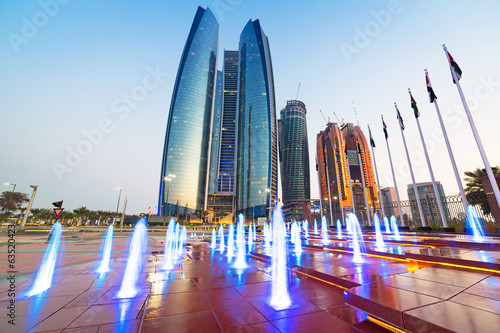 Skyscrapers of Abu Dhabi at sunset, United Arab Emirates