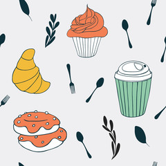Sweets background. Cute food seamless pattern