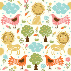 seamless pattern, lion and birds