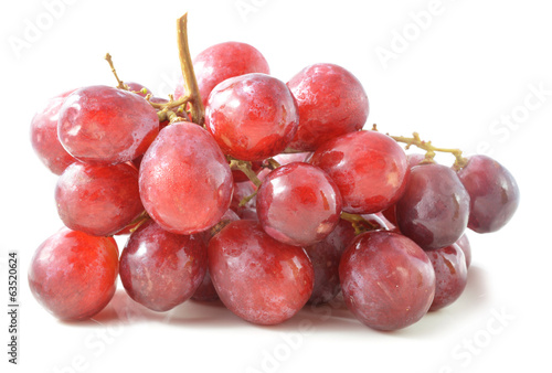 Red grape with water drops, closeup, isolated on white backgroun