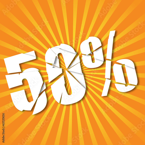 Sale 50% poster on stripes retro background