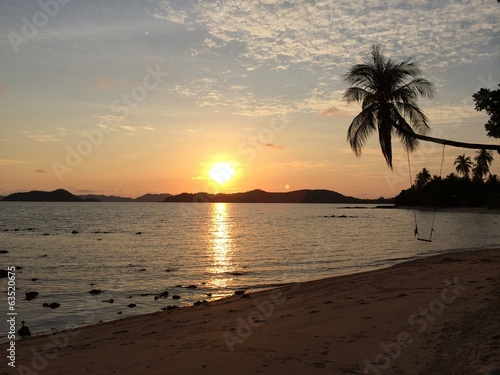 sunset on the beach with coconut tree