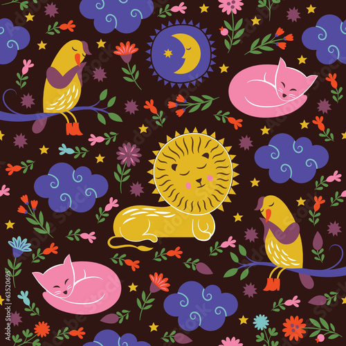 lullaby pattern, cute animals