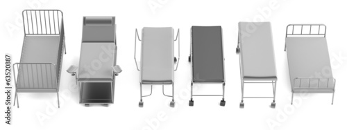 realistic 3d render of medical beds