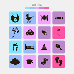 Set of various icons for babies