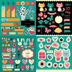 Big set of cute decorative scrapbook elements