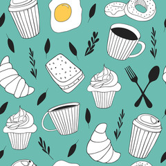 Yummy food background. Cute doodle seamless pattern