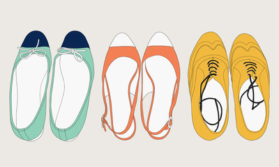 Summer shoes set. Fashion illustration