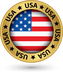 USA gold label with state map, vector illustration