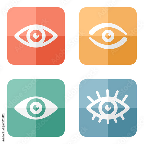 Collection of eyes icons on colored buttons