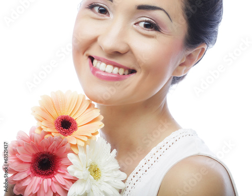Beautiful asian woman with flower iris