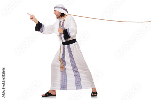 Arab man in tug of war concept
