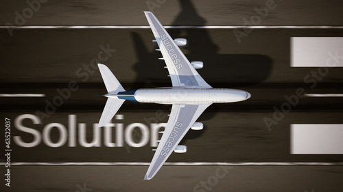 Concept of success. Airplane on the runway.