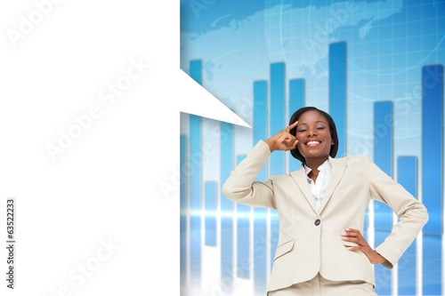 Composite image of thinking businesswoman with speech bubble