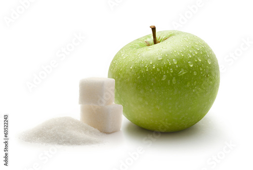 Green apple with white sugar