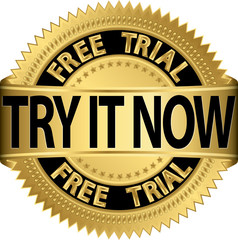 Free trial try it now gold label, vector illustration