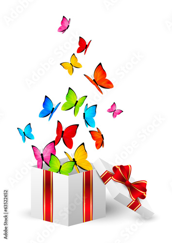 Gift box with color butterflies