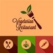 flat vegetarian restaurant icons set