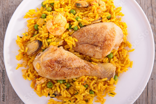rice, pea and chicken leg