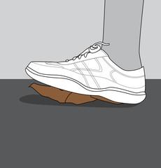 Chaussure qui écrase une crotte de chien dans la rue