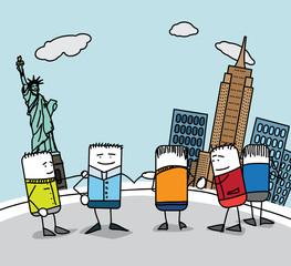 Groupe de touristes à New-York