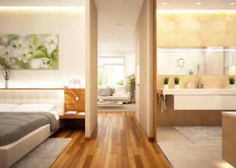 Living room + bathroom + bedroom