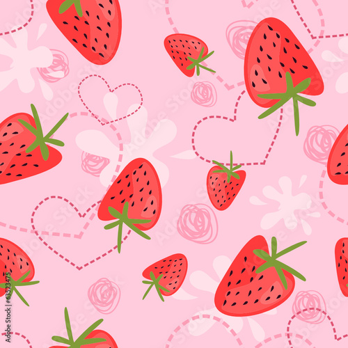 strawberry yogurt seamless patterns