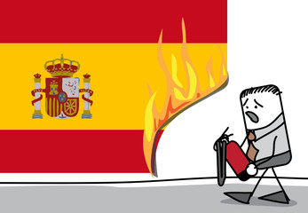 Incendie sur le drapeau espagnol