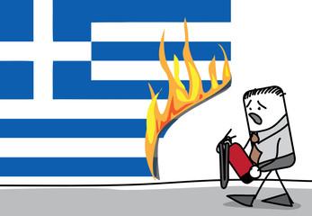 Incendie sur le drapeau grecque