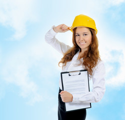 Businesswoman with construction helmet