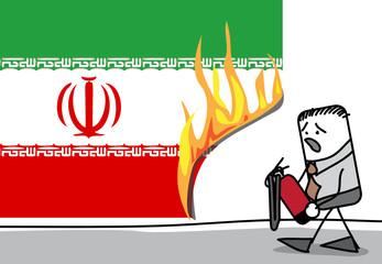 Incendie sur le drapeau iranien